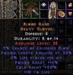 Crafting Blood Gloves